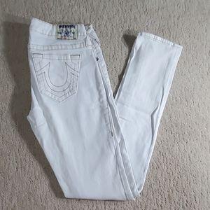 True religion white skinny jeans 29